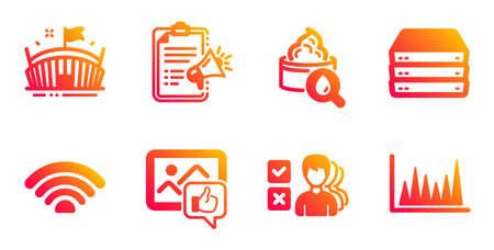 Wifi, Servers and Moisturizing cream line icons set. Like photo, Opinion and Megaphone checklist signs. Arena, Line graph symbols. Wifi internet, Big data. Business set. Vector