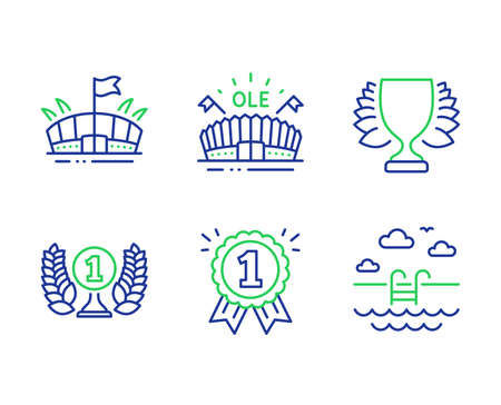 Laureate award, Arena and Reward line icons set. Winner, Sports arena and Swimming pool signs. Prize, Sport stadium, First place. Sports achievement. Sports set. Vector