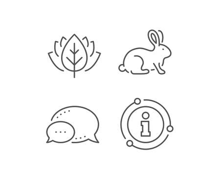 Animal tested line icon. Chat bubble, info sign elements. Bio cosmetics sign. Fair trade symbol. Linear animal tested outline icon. Information bubble. Vector