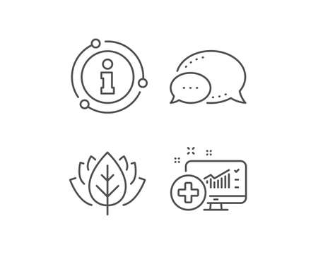 Medical analytics line icon. Chat bubble, info sign elements. Hospital statistics sign. Linear medical analytics outline icon. Information bubble. Vector