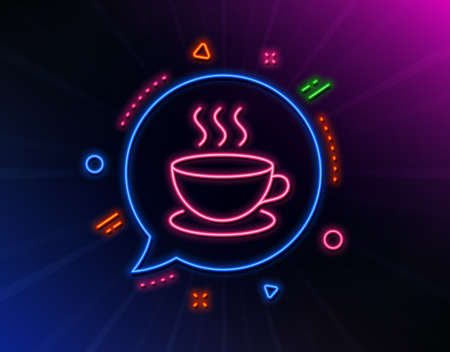 Coffee drink line icon. Neon laser lights. Hot cup sign. Fresh beverage symbol. Glow laser speech bubble. Neon lights chat bubble. Banner badge with cappuccino icon. Vector