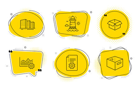 Operational excellence, Opened box and Office box signs. Chat bubbles. Buildings, Technical documentation and Lighthouse line icons set. City architecture, Manual, Beacon tower. Vector Ilustração