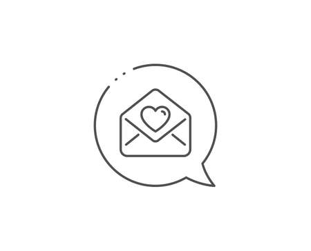 Love letter line icon. Chat bubble design. Heart mail sign. Valentine day symbol. Outline concept. Thin line love letter icon. Vector