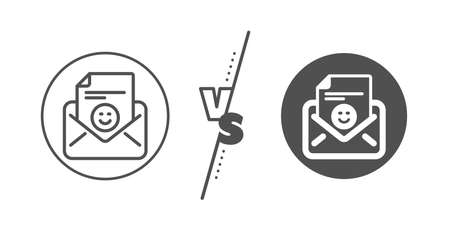 Positive feedback letter sign. Versus concept. Smile mail line icon. Customer satisfaction symbol. Line vs classic smile icon. Vector Ilustrace