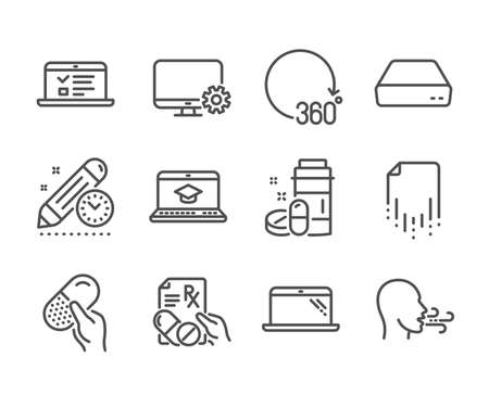 Set of Science icons, such as Prescription drugs, Website education, Monitor settings, Medical drugs, Breathing exercise, 360 degrees, Capsule pill, Mini pc, Web lectures, Project deadline. Vector Reklamní fotografie - 133850636