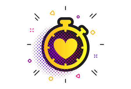 Heart Timer sign icon. Halftone dots pattern. Stopwatch symbol. Heartbeat palpitation. Classic flat timer icon. Vector