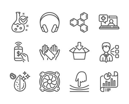 Set of Technology icons, such as Third party, Phone payment, Report document, Get box, Headphones, Medical help, Elastic, Dirty water, Computer fan, Chemical formula, Smartphone holding. Vector Archivio Fotografico - 133850637