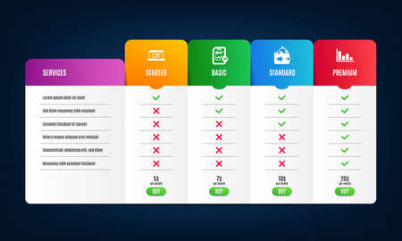 Web lectures, Report checklist and Wallet icons simple set. Price list, pricing table. Histogram sign. Online test, Sales growth file, Money payment. Economic trend. Education set. Vector Archivio Fotografico - 133850644