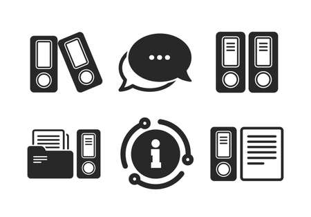 Document storage in folders sign symbols. Chat, info sign. Accounting icons. Classic style speech bubble icon. Vector Çizim