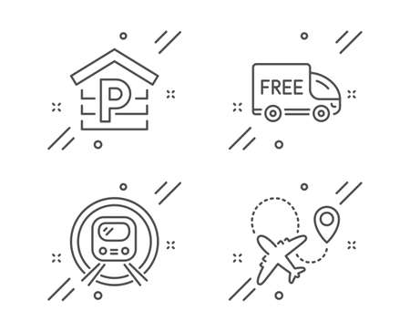 Parking, Metro subway and Free delivery line icons set. Airplane sign. Garage, Underground, Shopping truck. Plane. Transportation set. Line parking outline icon. Vector 向量圖像