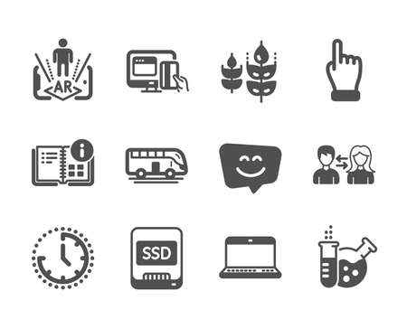 Set of Business icons, such as Instruction info, Chemistry lab, Augmented reality, Time, Click hand, Bus tour, Gluten free, Notebook, Ssd, People communication, Online payment, Smile face. Vector Reklamní fotografie - 133850764