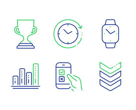 Mobile survey, Graph chart and Time change line icons set. Smartwatch, Award cup and Shoulder strap signs. Phone quiz test, Growth report, Clock. Digital time. Education set. Vector Archivio Fotografico - 133850768