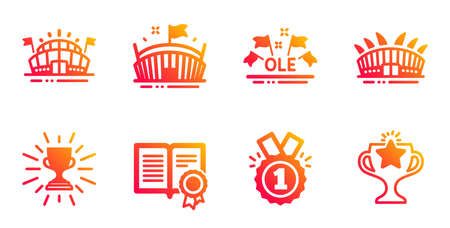 Arena stadium, Sports arena and Ole chant line icons set. Diploma, Approved and Trophy signs. Victory symbol. Sport complex, Event stadium. Sports set. Gradient arena stadium icons set. Vector