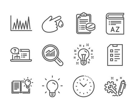 Set of Science icons, such as Checklist, Medical prescription, Data analysis, Product knowledge, Time management, Engineering, Light bulb, Line graph, Blood donation, Online help, Idea. Vector Reklamní fotografie - 133850858