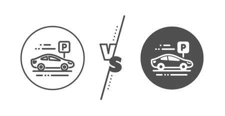 Park place sign. Versus concept. Car parking line icon. Hotel service symbol. Line vs classic car parking icon. Vector 일러스트