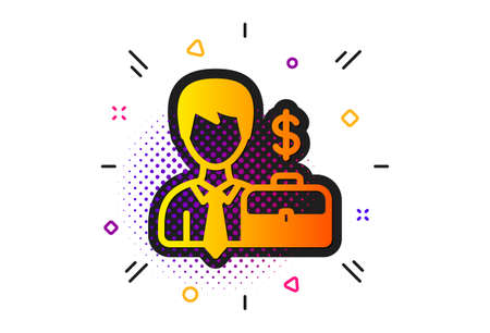 Diplomat with Dollar sign. Halftone circles pattern. Businessman with Case icon. Classic flat businessman case icon. Vector