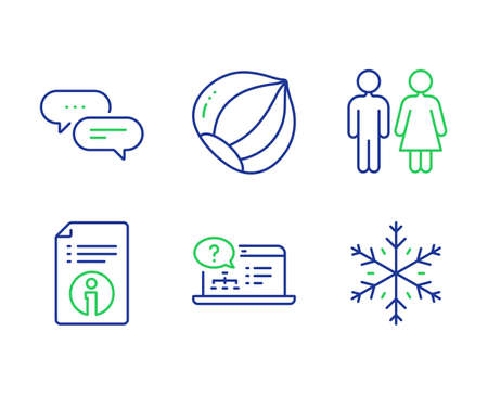 Hazelnut, Restroom and Online help line icons set. Dots message, Technical info and Snowflake signs. Vegetarian nut, Wc toilet, Web support. Chat bubble. Line hazelnut outline icons. Vector