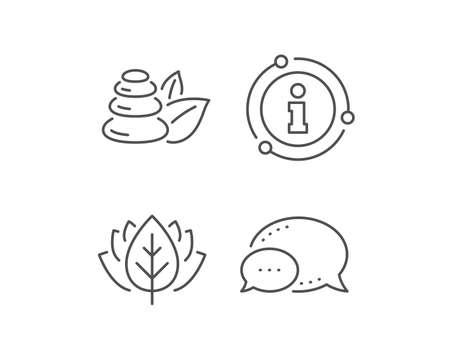 Spa stones line icon. Chat bubble, info sign elements. Bath resort sign. Hotel service symbol. Linear spa stones outline icon. Information bubble. Vector