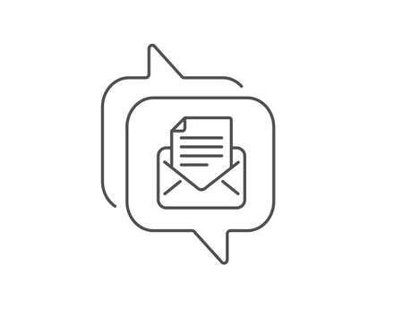 Mail correspondence line icon. Chat bubble design. Read Message sign. E-mail symbol. Outline concept. Thin line mail correspondence icon. Vector