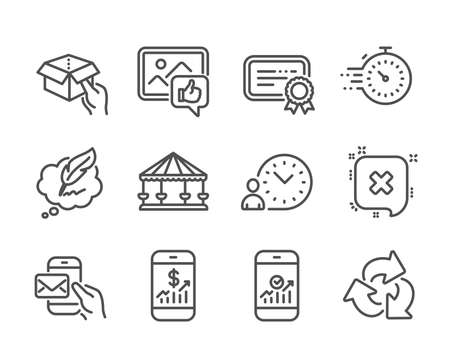 Set of Technology icons, such as Time management, Copyright chat, Hold box, Timer, Like photo, Messenger mail, Mobile finance, Carousels, Certificate, Smartphone statistics, Reject. Vector  イラスト・ベクター素材