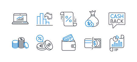 Set of Finance icons, such as Online statistics, Debit card, Cash, Money transfer, Decreasing graph, Payment methods, Currency exchange, Loan percent, Banking money, Report document. Vector Ilustrace