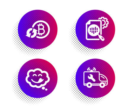 Refresh bitcoin, Yummy smile and Seo stats icons simple set. Halftone dots button. Car service sign. Update cryptocurrency, Comic chat, Cogwheel. Repair service. Technology set. Vector Ilustração