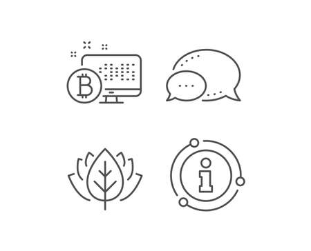 Bitcoin line icon. Chat bubble, info sign elements. Cryptocurrency monitor sign. Crypto money symbol. Linear bitcoin system outline icon. Information bubble. Vector Stok Fotoğraf - 133851130
