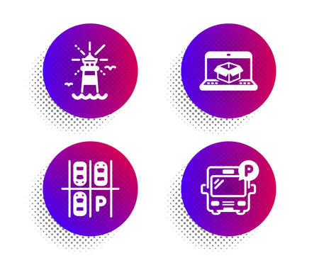Parking place, Lighthouse and Online delivery icons simple set. Halftone dots button. Bus parking sign. Transport, Navigation, Parcel tracking website. Public park. Transportation set. Vector 向量圖像
