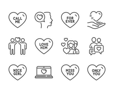 Set of Love icons, such as Miss you, Love him, Web love, For ever, Only you, Nice girl, Call me, Friends couple, Romantic talk, Hold heart, Couple, Dating chat line icons. Miss you icon. Vector