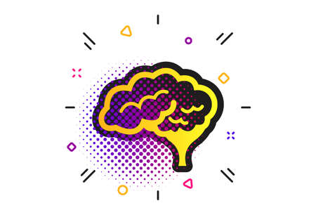 Brain with cerebellum sign icon. Halftone dots pattern. Human intelligent smart mind. Classic flat neurology icon. Vector