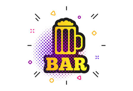 Bar sign icon. Halftone dots pattern. Glass of beer symbol. Alcohol drink symbol. Classic flat beer icon. Vector