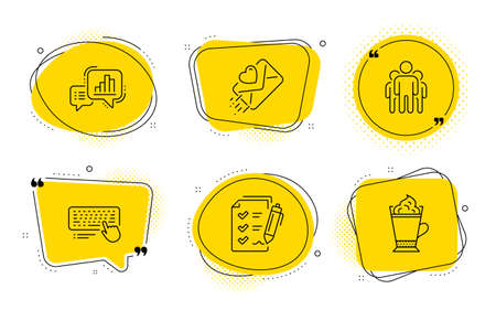 Computer keyboard, Love letter and Latte coffee signs. Chat bubbles. Graph chart, Survey checklist and Group line icons set. Growth report, Report, Managers. Pc device. Business set. Vector Archivio Fotografico - 133851350