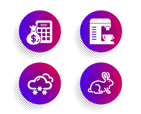 Snow weather, Finance calculator and Coffee machine icons simple set. Halftone dots button. Animal tested sign. Snowflake, Calculate money, Cappuccino machine. Bio product. Business set. Vector Ilustrace