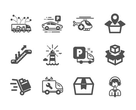 Set of Transportation icons, such as Shipping support, Escalator, Packing boxes, Lighthouse, Package location, Push cart, Medical helicopter, Truck delivery, Car parking, Package box. Vector 스톡 콘텐츠 - 133851366