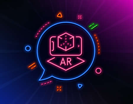 Augmented reality phone line icon. Neon laser lights. VR simulation sign. 3d cube symbol. Glow laser speech bubble. Neon lights chat bubble. Banner badge with augmented reality icon. Vector Çizim