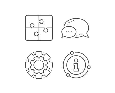 Puzzle line icon. Chat bubble, info sign elements. Engineering strategy sign. Linear puzzle outline icon. Information bubble. Vector