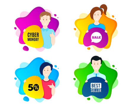 Cyber Monday Sale. People shape offer badge. Special offer price sign. Advertising Discounts symbol. Dynamic shape offer. Worker person badge. Cut out people coupon. Cyber monday text. Vector