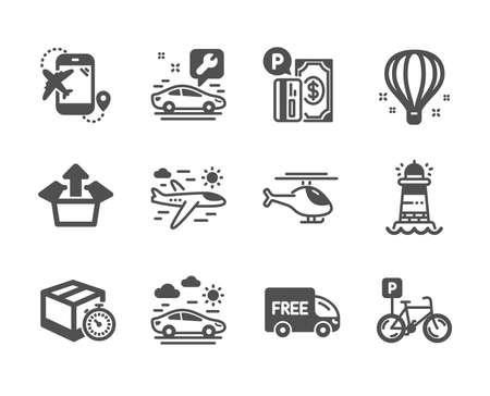 Set of Transportation icons, such as Helicopter, Lighthouse, Flight destination, Car travel, Free delivery, Bicycle parking, Delivery timer, Airplane travel, Car service, Air balloon. Vector Reklamní fotografie - 133851378