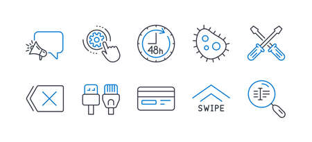 Set of Technology icons, such as Screwdriverl, Swipe up, Megaphone, 48 hours, Bacteria, Cogwheel settings, Computer cables, Remove, Credit card, Search text line icons. Line screwdriverl icon. Vector Reklamní fotografie - 133851379