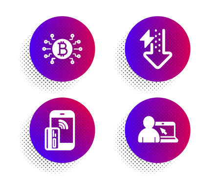 Bitcoin system, Energy drops and Contactless payment icons simple set. Halftone dots button. Online education sign. Cryptocurrency scheme, Power usage, Phone money. Internet lectures. Vector Ilustrace
