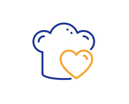 Chef sign. Cooking hat line icon. Love food preparation symbol. Colorful outline concept. Blue and orange thin line love cooking icon. Vector  イラスト・ベクター素材