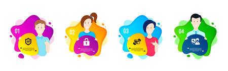 Approved shield, Lock and Refresh website icons simple set. People shapes timeline. Repairman sign. Protection, Private locker, Update internet. Repair service. Technology set. Vector
