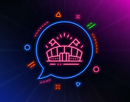 Sports arena line icon. Neon laser lights. Stadium with flags sign. Sport complex symbol. Glow laser speech bubble. Neon lights chat bubble. Banner badge with sports arena icon. Vector Illusztráció