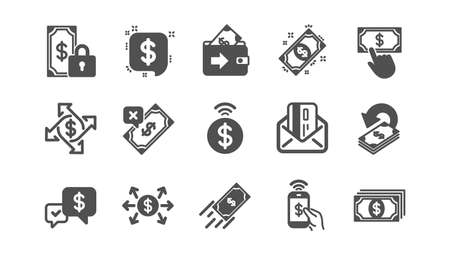 Money payment icons. Accept transfer, Pay by Phone and Credit card. Cash classic icon set. Quality set. Vector Ilustração