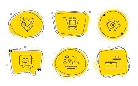 Piggy sale, Balloons and Gifts signs. Chat bubbles. Smile face, Travel sea and Shopping cart line icons set. Chat, Summer holidays, Gift box. Discounts. Holidays set. Line smile face icon. Vector