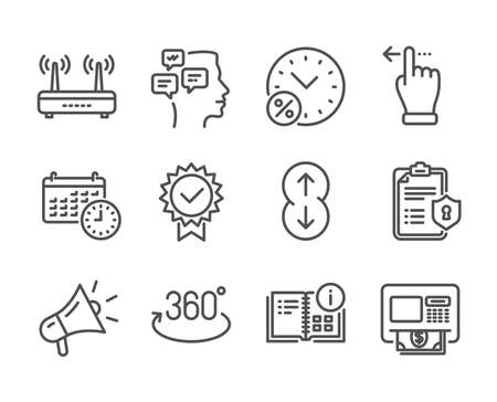 Set of Technology icons, such as Wifi, Touchscreen gesture, Atm, Loan percent, Privacy policy, Instruction info, Scroll down, Messages, Certificate, Calendar, Megaphone, Full rotation. Vector Reklamní fotografie - 133851616