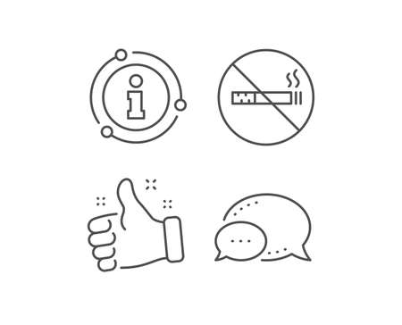 No smoking line icon. Chat bubble, info sign elements. Stop smoke sign. Hotel service symbol. Linear no smoking outline icon. Information bubble. Vector Ilustrace