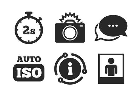 Flash light and Auto ISO symbols. Chat, info sign. Photo camera icon. Stopwatch timer 2 seconds sign. Human portrait photo frame. Classic style speech bubble icon. Vector Stok Fotoğraf - 133851641