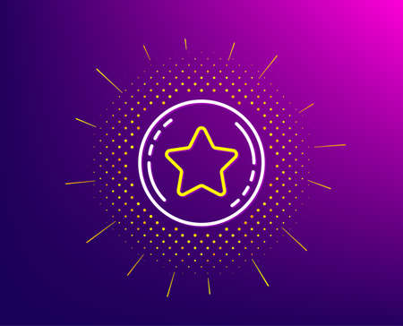 Loyalty star line icon. Halftone pattern. Bonus points. Discount program symbol. Gradient background. Loyalty star line icon. Yellow halftone pattern. Vector 일러스트