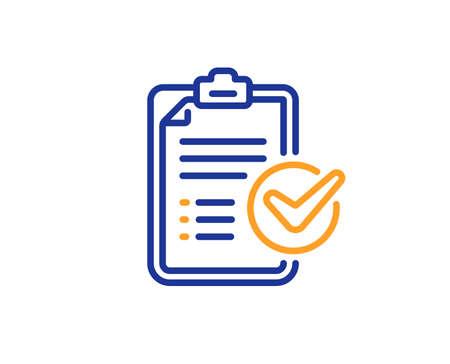 Report sign. Survey checklist line icon. Business review symbol. Colorful outline concept. Blue and orange thin line survey checklist icon. Vector